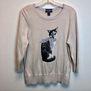 Lend's End women cute jumper with kitten design